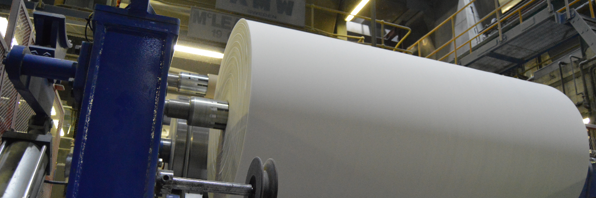 Tissue Paper Parent Reel Being Formed on PM4 at Sapphire Paperv Mill