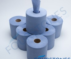 2 Ply Blue Flat Sheet Centrefeed