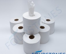 Fourstones White Flat Sheet Centrefeed Rolls